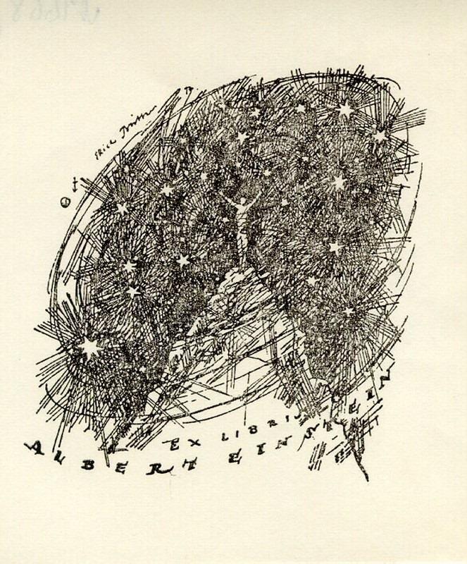 Ex-libris d'Albert Einstein, début du 20e siècle, impression sur papier représentant un personnage entouré d'étoiles