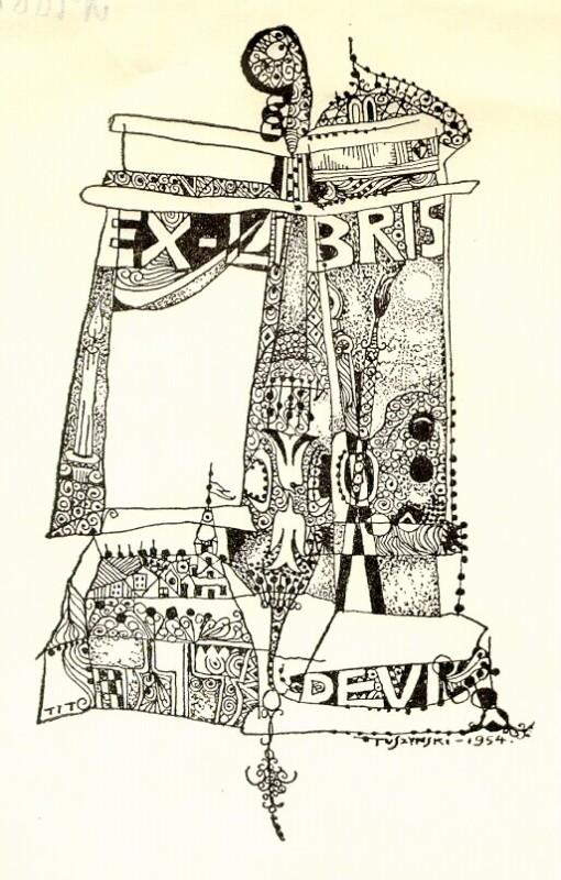 Ex-libris de Devi Tuszynski, France 1954, gravure sur bois sur papier