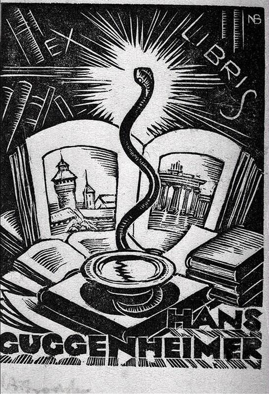 Ex-libris d'Hans Guggenheim, 20e siècle, gravure sur bois représentant un serpent – emblème des médecins et pharmaciens – et une bibliothèque