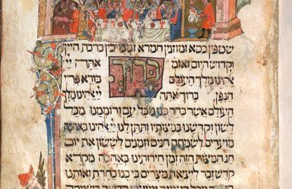 1. (F.18r) représentation des herbes amères, et d'un couple attablé pour le Seder avec un homme pointant sa femme du doigt. La British Library donne l'explication suivante : Ce motif fait référence à un jeu de mots qui signifie que pour le mari, sa femme est l'herbe amère.