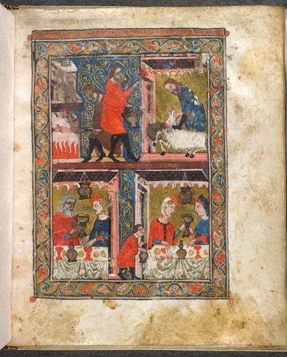 2. (F. 8r) une représentation d'une famille à la table du Seder et d'un serviteur écorchant et rôtissant l'agneau pascal