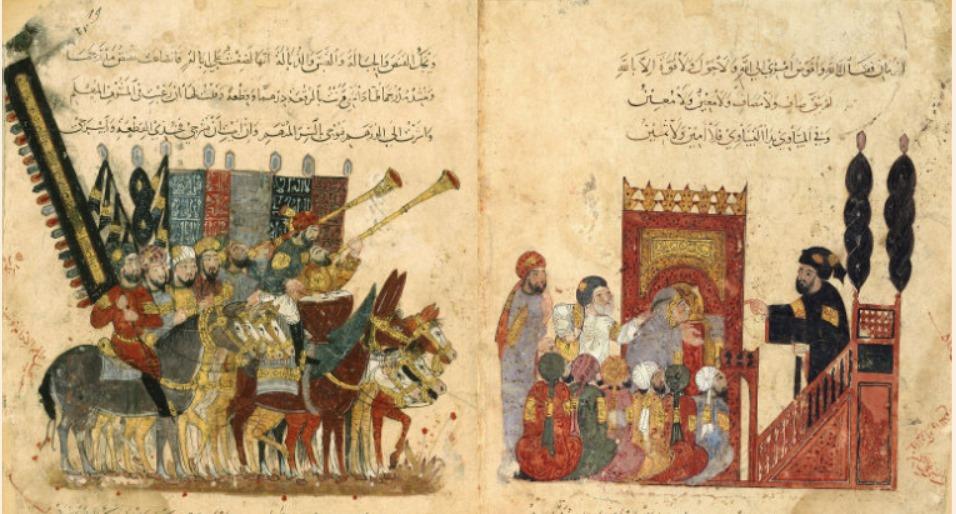 « Les Séances » d'Al Harîrî, peintes par Al Wâsitî, Irak, 1237 (BNF)