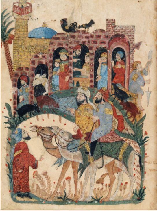 Séance 43 : représentation des héros Al Hârith et Abû Zayd discutant avec un homme dans un village. On peut noter la richesse de l'illustration qui comprend des animaux, des éléments d'architecture, et de nombreux personnages aux fonctions et tenues variées.