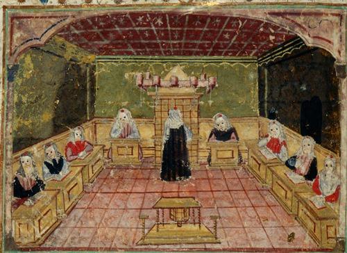Ms harley 5686 : Mazhor, Italie du Nord, 1466 8 : miniature représentant une congrégation priant à la synagogue