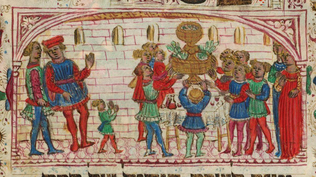 Ms harley 5686 : Mazhor, Italie du Nord, 1466 représentation de la table de Seder