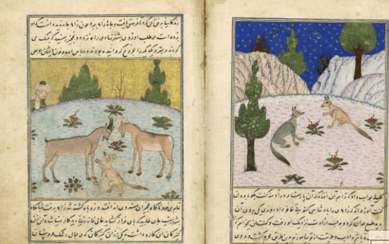 Kalîla et Dimna, Irak, 1392 (BNF) : les deux chacals conversant (droite), un renard interrompant le combat de deux bouquetins (gauche)