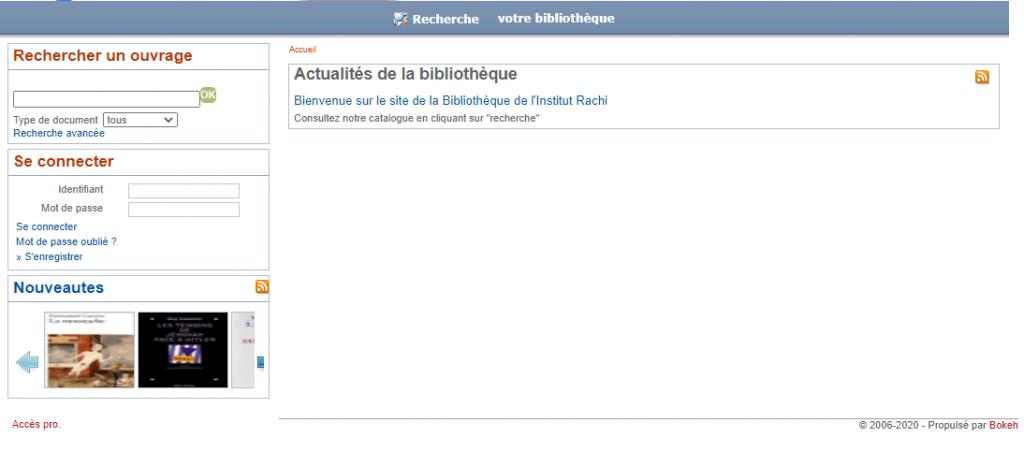 catalogue en ligne de la bibliothèque de l'institut Rachi